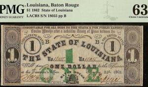 1862 $1 DOLLAR BATON ROUGE LOUISIANA NOTE ON HOLLY SPRINGS $5 BACKS PMG 63