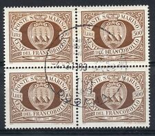 SAN MARINO 1977 Stamp Centenary 500l. SG 1080. Fine Used block of 4. (b)