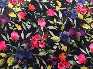 25 cm Softshell Jackenstoff Hosenstoff Navy AQUARELLE FLOWERS Mädchen 17€/m