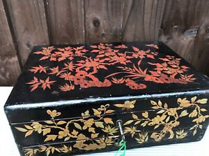 Large Qing Meiji Chinese Red Gold Black Lacquer Flower Jewellery Box With Key