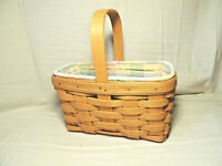 LONGABERGER 1999 Candle Basket Combo with Pastel Plaid Liner and Protector EUC