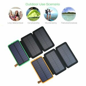 Solar Power Bank 300000mAh Waterproof External Battery Charger With 3 Panels US