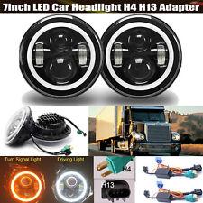 "7""Inch Round LED Halo Angel Eyes Headlights Lamp H4-H13 For Peterbilt 359 379"