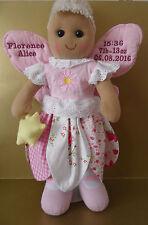 Personnalisé de poupée de chiffon Fée Ange pour nouveau bébé fille naissance Records 40 cm Cadeau Ours