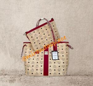 NEW Authentic MCM Medium Beige Wine Reversible Liz Shopper Tote Shoulder Bag