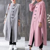 ZANZEA Women Plaid Stand Collar Long Sleeve Split Kaftan Shirt Dress Blouse Tops