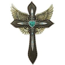 """Rustic Angel's Wings Cross Green / Turquoise Heart Layered - Wall Hang 8"""" x 12"""""""