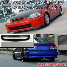 SiR Style Front + TR Style Rear Lip (PU) + Grill (Mesh) Fit 96-98 Civic 2dr