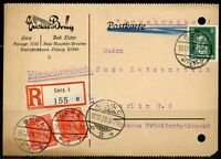 GERMANY REGISTERED GERA POSTCARD 16.12.28T TO  BERLIN 17.12.28  AS SHOWN