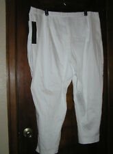 CATHERINES ADDED DIMENSIONS COMFORT WAIST WHITE CROPPED PANTS CAPRIS SZ 30W 0518