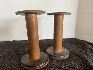 "2 Vintage Large Wooden Spools - 7"" Tall. Industrial Bobbins"