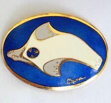 Alaskan Yupik Eskimo Chuna Brooch blue enamel cloissone seal artique