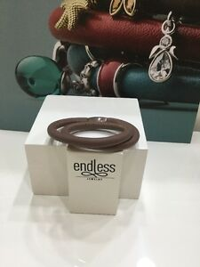 "NWT  Endless jewelry Brown Double Wrap Leather Charm Silver Bracelet 7""  NEW"
