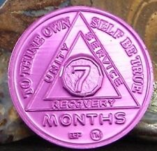 Alcoholics Anonymous AA 7 Month Aluminum Medallion Coin Chip Token Sobriety