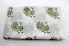 Indian Cotton Voile Fabric Peacock Animal Printed Hand Block Print fabric 2.5 yd