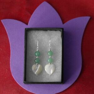 Earrings With Jade & Heart Mother Of Pearl 4.3 Cm. Long + Hooks