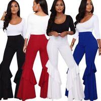 Womens Ruffle Flare High Waist Flared Wide Leg Pants Casual Clubwear Fashion New