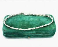 Vintage Sterling Silver bracelet Twisted braid gift Art Deco 7.25 inch #N623