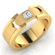 0.21 Ct Natural Diamond Engagement Mens Ring 14K Gold Band Round Size 10 11