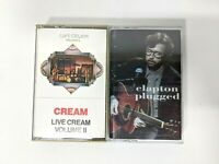 Lot of 2 Eric Clapton & Cream Audio Cassette Tapes Live Volume 2 & Unplugged