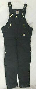 Carhartt R33 Black Extremes Quilt Lined Bibs Overalls Pants 36 X 32