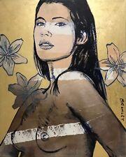 """DAVID BROMLEY Nude """"Cheyenne"""" Polymer & Gold Leaf on Canvas 150cm x 120cm"""