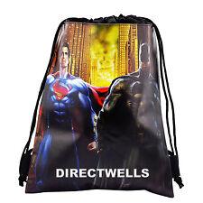 Batman Superman Authentic Licensed Black Drawstring String Bag School Backpack