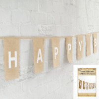 HAPPY BIRTHDAY BUNTING IN HESSIAN BIRTHDAY PARTY SUPPLIES PARTY BANNER