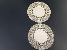 Doilies Lovely Antique Vintage Hand-Made 2 matching lacy edges 6� dia Group #5