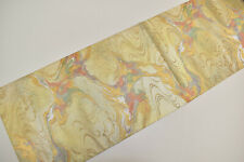 VINTAGE SILK FUKURO OBI BELT:Gold Tsinami Wave/Like Ink Calligraphy@Y34