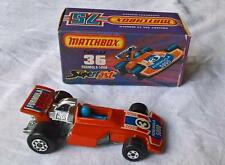 MATCHBOX SUPERFAST #36 FORMULA 5000 MK 5 IN RED STICKERS DRIVER MINT BOXED