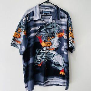 POINT ZERO Size L Vintage Cartoon Anime Short Sleeve Button Shirt Men's Polo