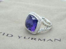 David Yurman Sterling Silver 14mm Amethyst Diamond Albion Ring Size 8