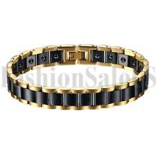 13mm Wide Mens Stainless Steel Ceramic Magnet Charm Health Bracelet Bangle Chain