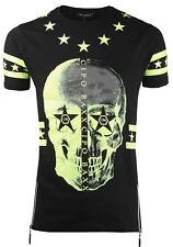 Cipo & Baxx Herren T-Shirt kurzarm Zipper Skull Rundhals CT272 schwarz-grün
