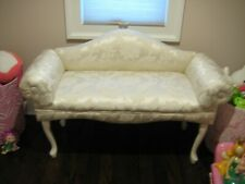 Settee Queen Anne style Damask Bench Local Pickup Only to New Jersey