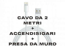 Kit Carica Batteria Auto Usb Per iPhone 6S 6 5S Plus iPod iPad Cavo 2M LightNing