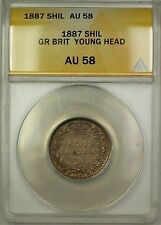 1887 Great Britain Young Head 1S Shilling Silver Coin ANACS AU-58