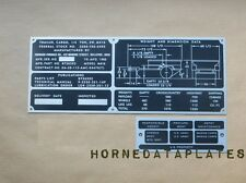 JOHNSON FURNACE CO. M416 TRAILER DATA PLATES ID TAGS M38 M38A1 M151 MUTT