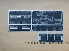 JOHNSON FURNACE CO. M416 TRAILER DATA PLATES ID TAGS M38 M38A1 M151 MUTT