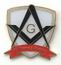45 Years a Mason Masonic Commemorative Lapel Pin Badge *Exclusive*
