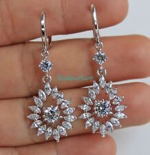 18K White Gold Filled-Angel Waterdrop White Topaz Hollow Cocktail Women Earrings