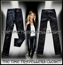 KATE MOSS TOPSHOP BLACK WET LOOK SLIM STRETCH JEANS TROUSERS UK 10 12 W32 L30