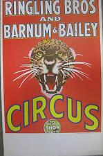 58' RINGLING BROTHERS CIRCUS POSTER Tiger Bursting Through Red Background NOS