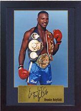 Cimeli Evander HOLYFIELD PUGILATO WBC CHAMPION firmato incorniciato Mike Tyson Ali