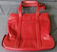 Vintage Liz Claiborne Red Polyvinyl Travel Handbag Double Handled Umbrella Slot