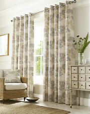 Elderberry Floral Natural Green Eyelet / Ring Top Lined Ready Made Curtains