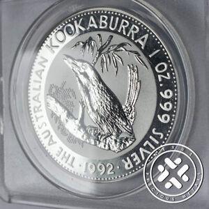 1992 ANACS MS70 DCAM Perth Mint Australia 1 oz Silver Kookaburra