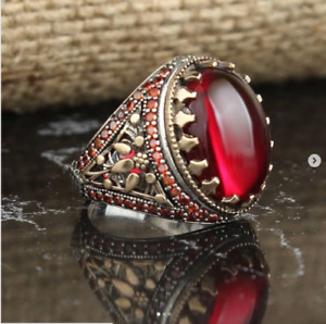 SOLID 925 STERLING SILVER MENS JEWELRY CABOCHON RED RUBY MEN'S RING