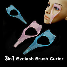 Makeup 3 in 1 Mascara Eyelash Brush Curler Lash Guard Applicator Comb Cosmetic